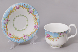 """Чайная пара """"Летний луг""""-A72 чашка 220мл с блюдцем в подарочной коробке"""