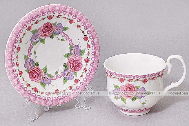 """Чайная пара """"Летний луг""""-A74 чашка 220мл с блюдцем в подарочной коробке"""