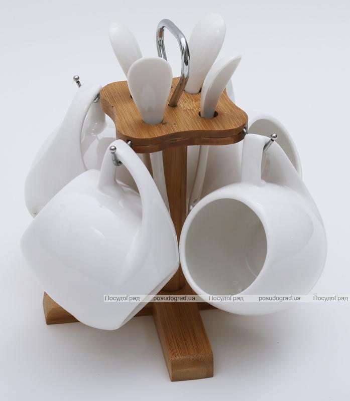Набор кружек Ceram-Bamboo 210мл с ложками на подставке