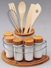Набор кухонный Ceram-Bamboo 12 предметов спецовники и кухонные аксессуары на подставке