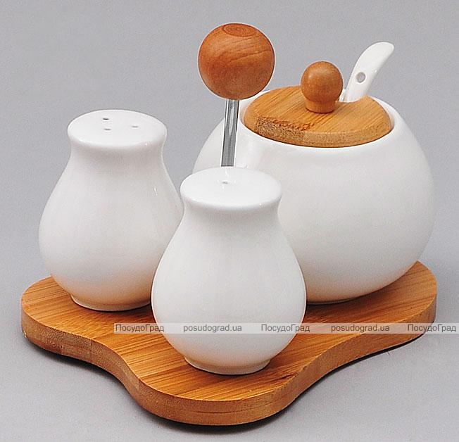 Набор для специй Ceram-Bamboo сервировочный на бамбуковой подставке