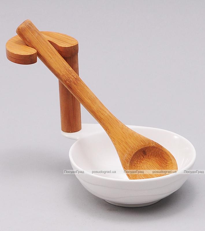 Подставка Ceram-Bamboo для кухонных аксессуаров 11x15x15см с деревянной поварской ложкой