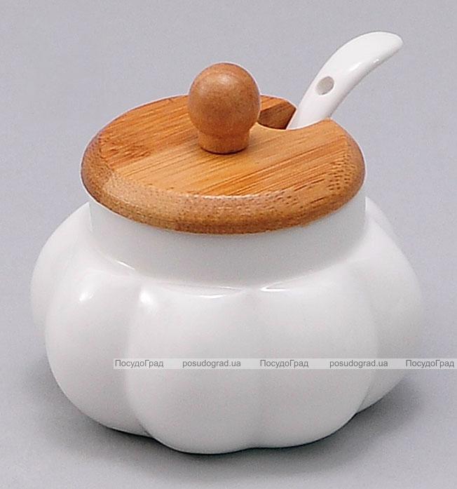 Сахарница с ложкой Ceram-Bamboo Ø9см бамбуковой крышкой