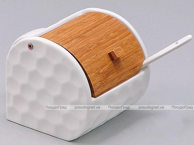 Солонка с ложкой Ceram-Bamboo Ø9см бамбуковой откидной крышкой