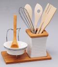 Подставка для кухонных аксессуаров Ceram-Bamboo с пиалой и деревянной ложкой