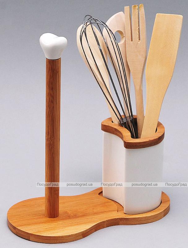 Подставка для кухонных аксессуаров Ceram-Bamboo 23см с держателем для полотенец
