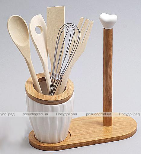 Подставка для кухонных аксессуаров Ceram-Bamboo 24см с держателем для полотенец