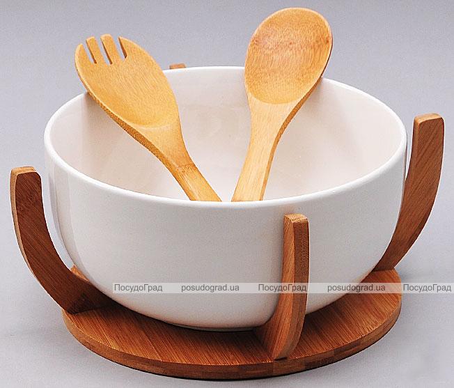 Пиала фарфоровая Ceram-Bamboo на деревянной подставке и две кухонные лопатки