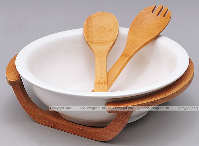 Салатник фарфоровый Ceram-Bamboo на деревянной подставке и две кухонные лопатки