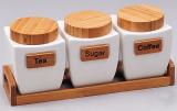 Набір банок Ceram-Bamboo 800мл для сипучих на дерев'яній підставці
