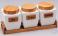 Набор банок Ceram-Bamboo 800мл для сыпучих на деревянной подставке
