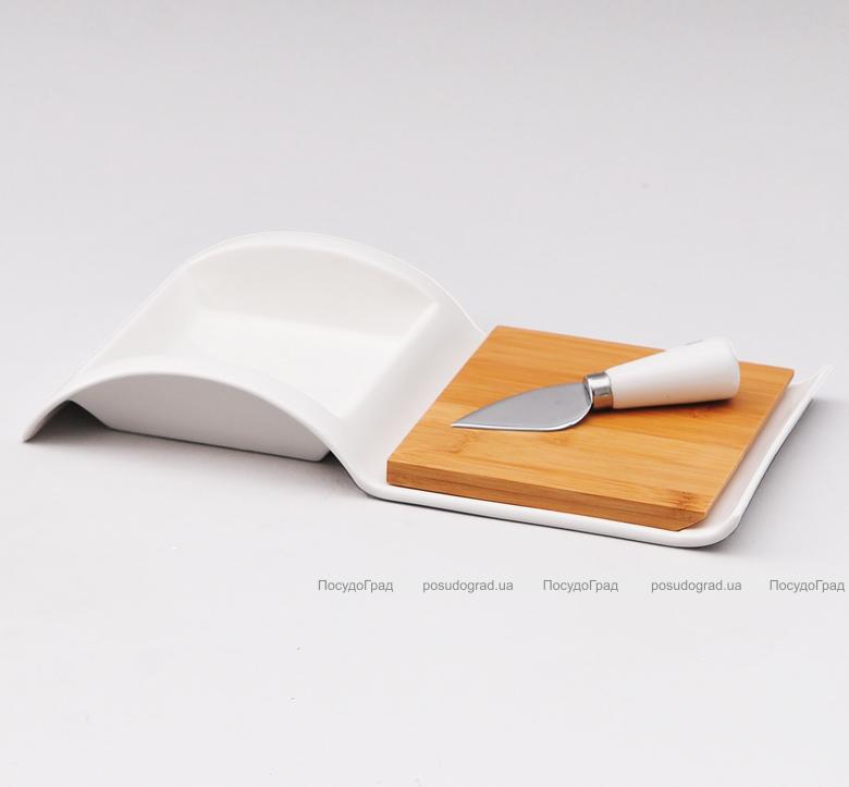 Блюдо Ceram-Bamboo для сыра фарфоровое с доской и ножом
