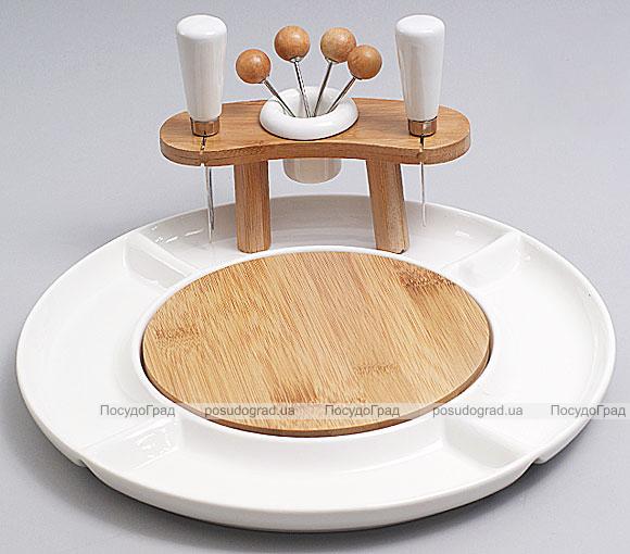 Набор для сыра фарфоровый Ceram-Bamboo круглый с деревянной доской