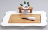 Набор для сыра фарфоровый Ceram-Bamboo прямоугольный с деревянной доской