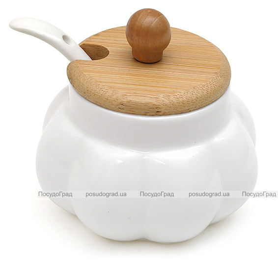 Сахарница Ceram-Bamboo Ø9см с ложкой и бамбуковой крышкой