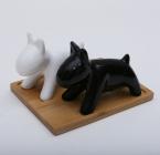 """Набор для специй Ceram-Bamboo """"Две собаки"""" соль/перец на подставке"""