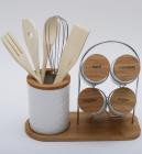 Набор кухонный Ceram-Bamboo 11 предметов спецовники и кухонные аксессуары на подставке
