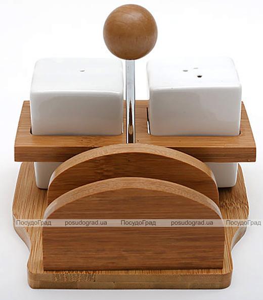 Набор спецовников Ceram-Bamboo соль/перец на бамбуковой подставке с салфетницей