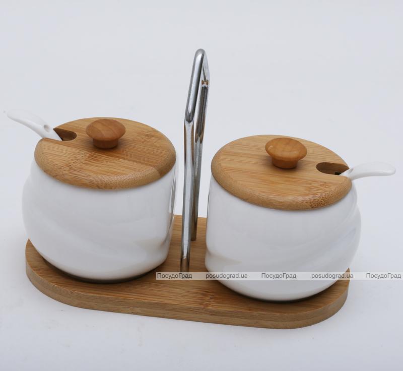 Набор Ceram-Bamboo сахарница и солонка с ложками на подставке
