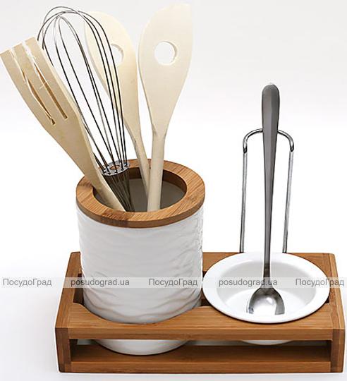 Подставка для кухонных аксессуаров Ceram-Bamboo с пиалой и поварской ложкой
