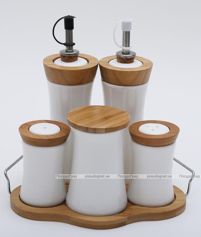 Набор для специй Ceram-Bamboo с емкостями для масла и уксуса на подставке