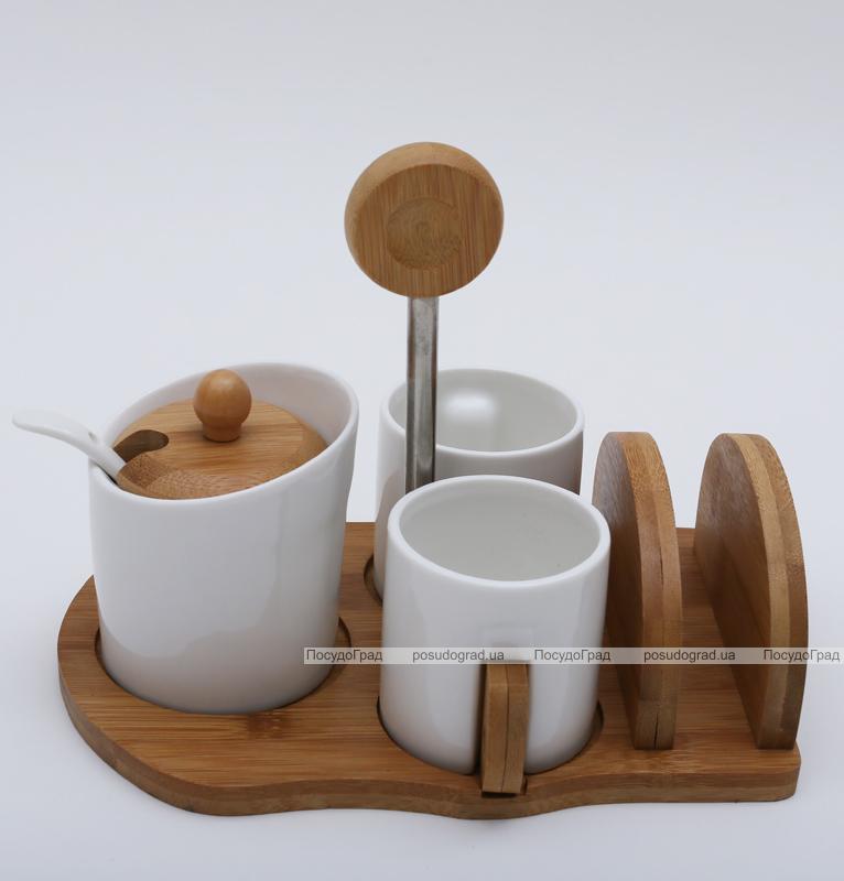 Набор для эспрессо Ceram-Bamboo 100мл с сахарницей и салфетницей на бамбуковой подставке
