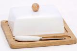 Масленка Ceram-Bamboo фарфоровая с бамбуковым блюдцем и ножом для масла