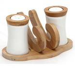 """Набор спецовников Ceram-Bamboo """"Волна"""" соль/перец с салфетницей на бамбуковой подставке"""