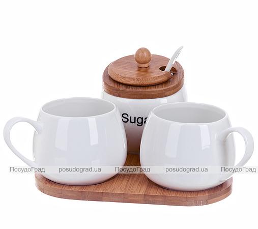 Чайный набор Ceram-Bamboo Сахарница 250мл и две чашки 300мл на подставке