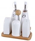 Набор для специй Ceram-Bamboo 6 предметов с емкостями для масла и уксуса
