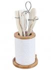 Стакан для кухонных аксессуаров Ceram-Bamboo 14см с набором деревянных лопаток и венчик