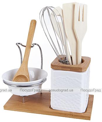 Подставка для кухонных аксессуаров Ceram-Bamboo с пиалой и деревянной ложкой 8 предметов