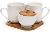 Чайний набір Ceram-Bamboo Цукорниця 200мл і дві чашки 380мл на дерев'яній підставці