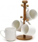 Чайный набор Ceram-Bamboo 4 кружки 380мл на деревянной подставке