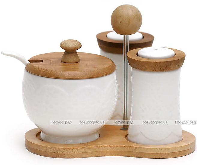 Спецовники сервировочные Ceram-Bamboo с сахарницей на бамбуковой подставке