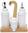 Набор для специй Ceram-Bamboo 5 предметов с емкостями для масла и уксуса