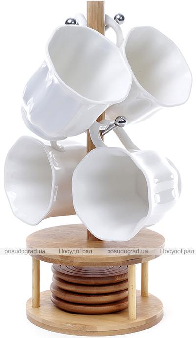 Чайный набор Ceram-Bamboo 4 кружки 300мл, 4 блюдца на деревянной подставке
