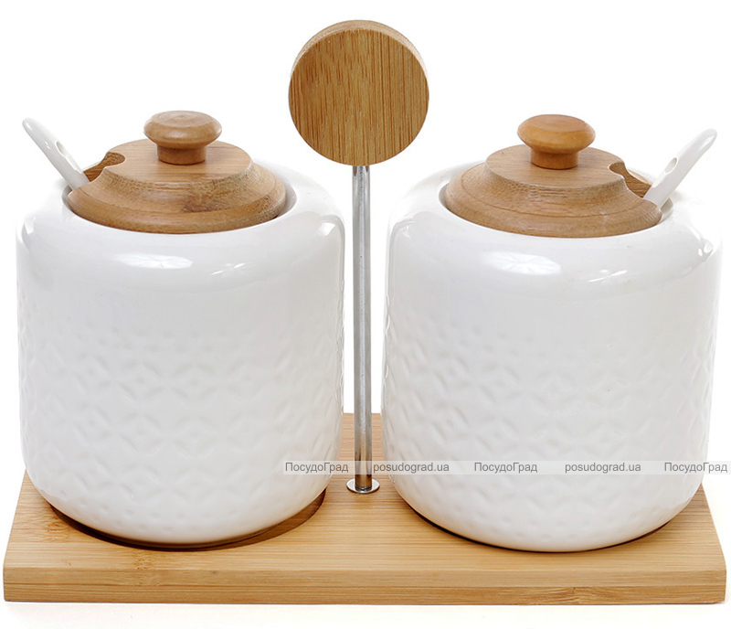 Набор банок Ceram-Bamboo 250мл для жидких и сыпучих продуктов с ложками на бамбуковой подставке