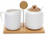 Набор сахарница и молочник Ceram-Bamboo на бамбуковой подставке