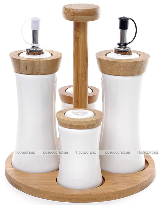 Набор для специй Ceram-Bamboo 5 предметов с бутылочками для масла и уксуса