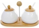 Набор 2 емкости-спецовники Ceram-Bamboo с ложками на бамбуковой подставке