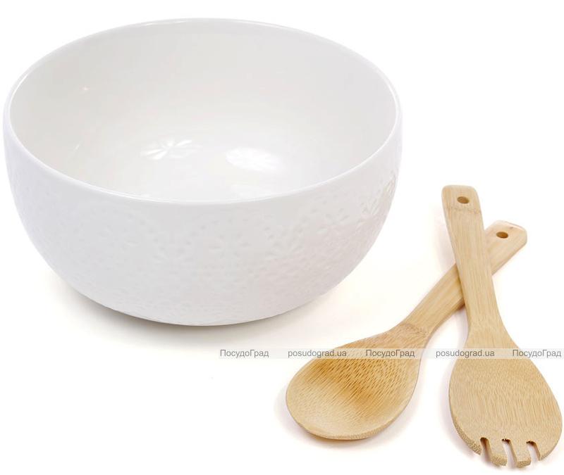 Салатник фарфоровый Ceram-Bamboo Ø24х12см и две кухонные лопатки бамбуковые