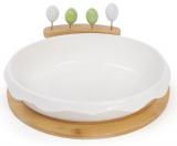 Блюдо фарфоровое Ceram-Bamboo для сыра с вилочками и бамбуковой подставкой