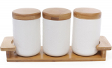 Набір банок Ceram-Bamboo 600мл для сипучих на дерев'яній підставці