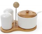 Набор для специй Ceram-Bamboo (сахар, соль, перец) на бамбуковой подставке