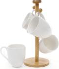 Чайний набір Ceram-Bamboo 4 кружки 340мл на дерев'яній підставці