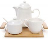 Чайний набір Ceram-Bamboo чайник, молочник і цукорниця на підносі