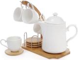 Кофейный набор Ceram-Bamboo чайник и 4 чашки на бамбуковой подставке
