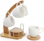 Кофейный набор Ceram-Bamboo 4 чашки 130мл, костеры на бамбуковой подставке