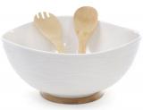 Салатник фарфоровый Ceram-Bamboo Ø29х14см, кухонные лопатки и подставка